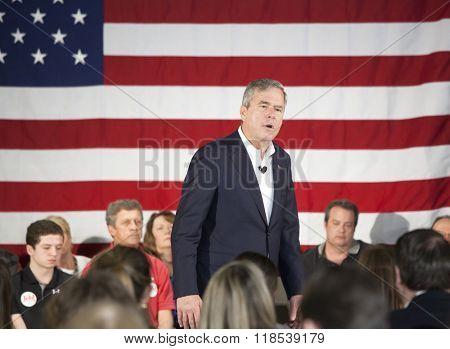BEAUFORT, SOUTH CAROLINA- FEBRUARY 17, 2016: Presidential hopeful Jeb Bush speaks at a townhall meeting in Beaufort, South Carolina