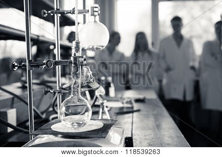 Laboratory equipment for distillation. Separating the component substances from liquid mixture