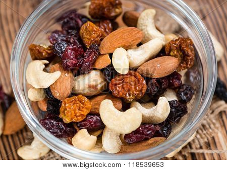 Wooden Table With Trail Mix