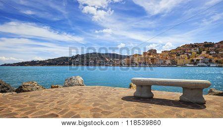 Bench On Seafront In Porto Santo Stefano, Argentario, Tuscany, Italy.