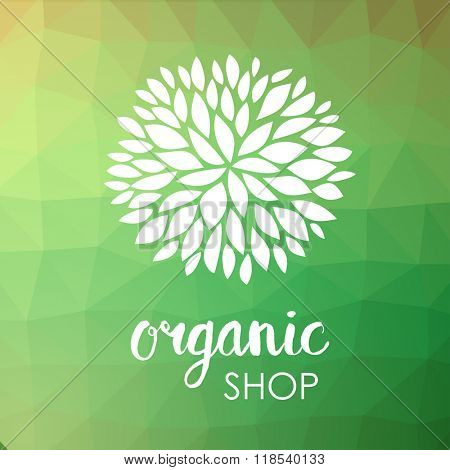 Floral logo. White flower on low poly green triangle pattern. Green life and organic ornamental concept. Can be used for organic shop or spa and beauty salon, yoga studio and healthy clinic.