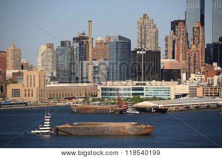 New York City Skyline And Tugboat
