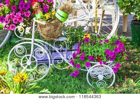 Decorative Vintage Bicycle with Basket of Flowers