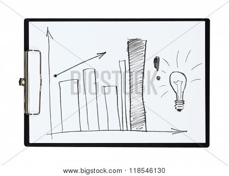 Clipboard and paper sheet with pencil drawing bar chart, isolated object