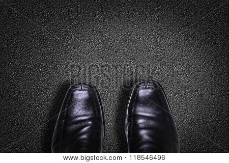 Top View of Business Shoes on the floor with a copy space