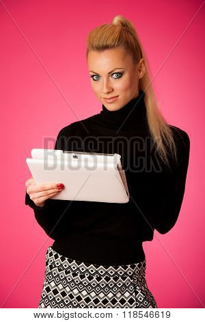 Bussiness Woman Using Tablet Computer, Reading News And Smiling.