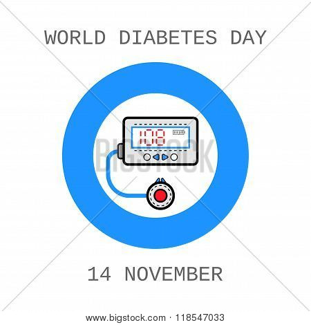 World Diabetes Day. Medical flat icons