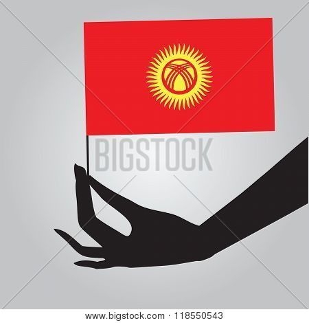 Hand With Flag Kyrgyzstan