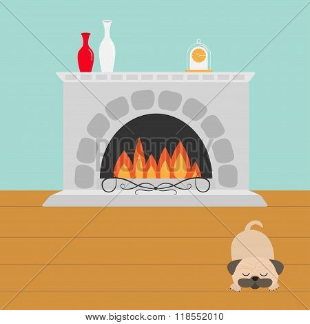 Fireplace With Fire. Sleeping Mops Pug Dog. Vase Set And Clock. Flat Design.