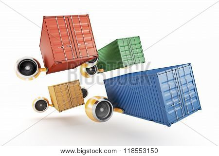 A Flock Of Containers Carrying Cargo By Air