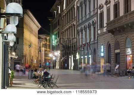 Florence Street Scene At Night