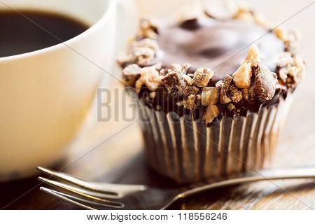 Chocolate Cupckae And Coffee Up Close