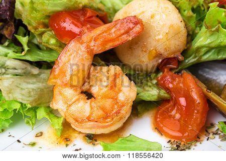 Delicious warm seafood salad.
