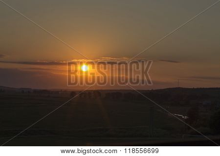 Sunset in the summer.