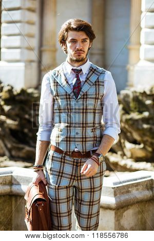 Elegant Man In Plaid Outfit