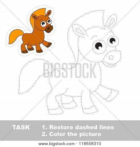 Brown horse to be traced. Vector trace game.