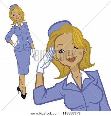 Beautiful Blonde Air Hostess. Woman In Official Clothes