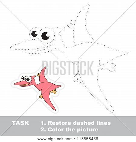 Cute pterodactyl to be traced. Vector trace game.
