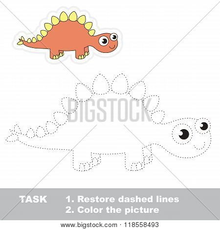 Cute stegosaurus to be traced. Vector trace game.