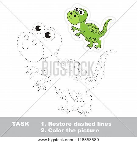 Tyrannosaurus to be traced. Vector trace game.