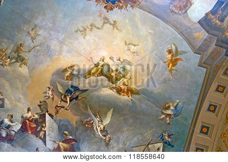 Tsarskoye Selo. Russia. Painting of The Great Hall