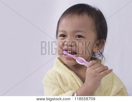 Child Girl Cleaning Teeth