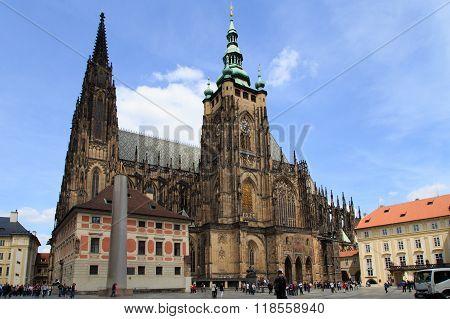 PRAGUE - MAY, 15, 2015: Prague castle yard, Prague, Czech Republic, Europe