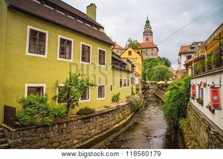 Pesky Krumlov, Czech Republic - May 2015 - street of old town