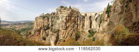 background panoramic view of Ponte Nuevo in Ronda