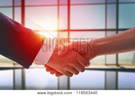 handshake of businessmen. the concept of successful negotiations.