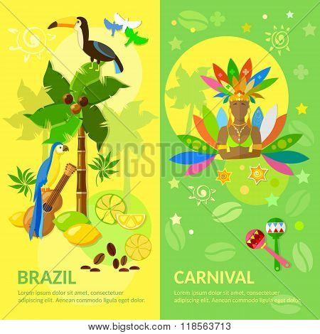 Brazil Banners Brazilian Carnival Brazilian Culture Vector