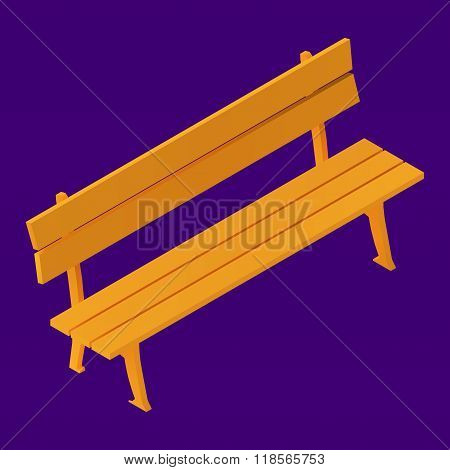 Park Bench Isolated Isometric vector