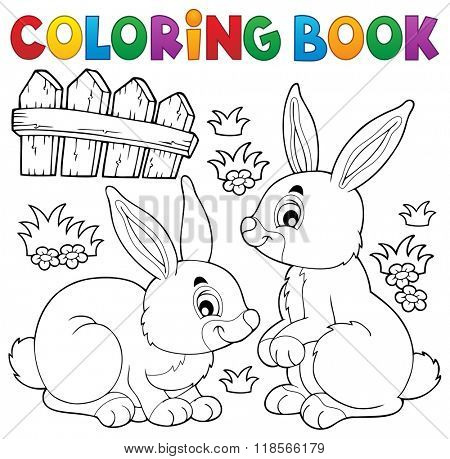 Coloring book rabbit topic 1 - eps10 vector illustration.