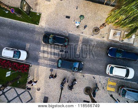CASCAIS, PORTUGAL - CIRCA DEC 2015: Top View of a street in Cascais, Portugal