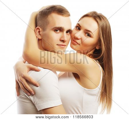 lovely happy couple hugging