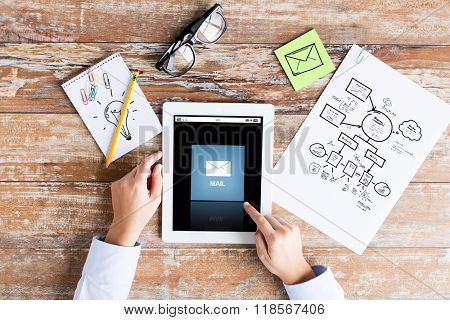 business, education, people and technology concept - close up of female hands pointing finger to email icon on tablet pc computer screen, scheme and eyeglasses