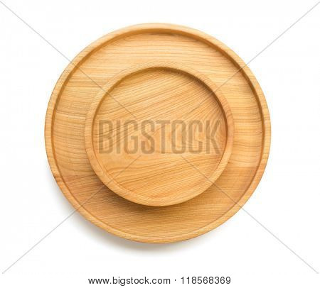 wooden tray isolated on white background