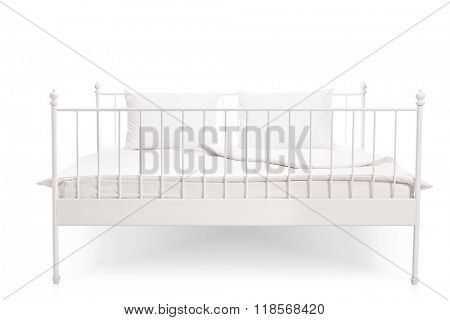 Frontal view studio shot of a modern white bed isolated on white background