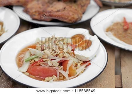 Papaya Salad Or Som-tam With Sticky Rice And Vegetable