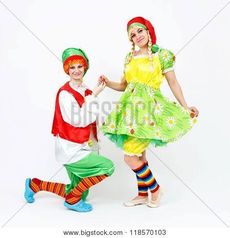 Fairy Dwarf Girl And Her Elf Friend On White