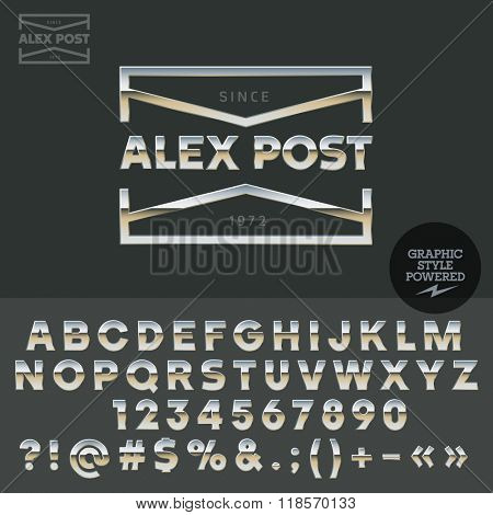 Glossy vector set of metallic letters, numbers and symbols.