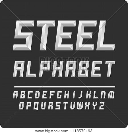 Set of letters. Vector alphabet steel color.