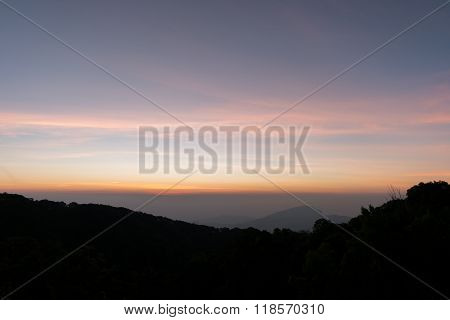 Mountain Before Sunrise At Viewpoint Of Kio Mae Pan, Chiang Mai, Thailand
