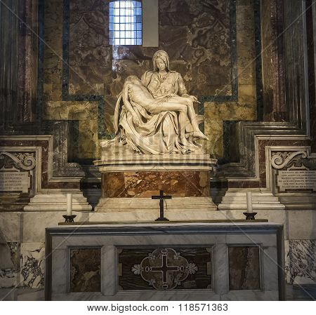 Pieta Statue Of Michelangelo In Basilica Of Saint Peter, Vatican
