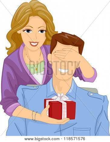 Illustration of a Woman Surprising Her Boyfriend with a Gift