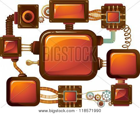 Steampunk Illustration of Multiple Screens Connected by Metal Cables