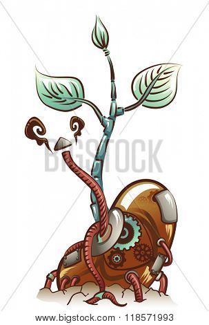 Steampunk Illustration of a Seedling Sprouting Metal Cables