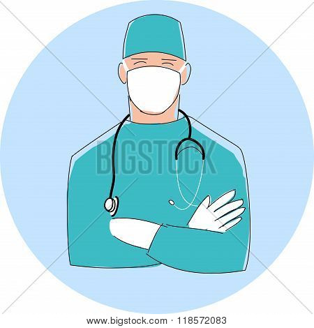 Doctor in mask. Male surgeon. Flat style design illustration with thin black outline.