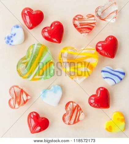 Glass Hearts In Various Colors