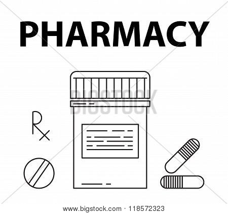 Pharmacy simple style concept. Pills box, prescription rx sign, pills and capsule icons.